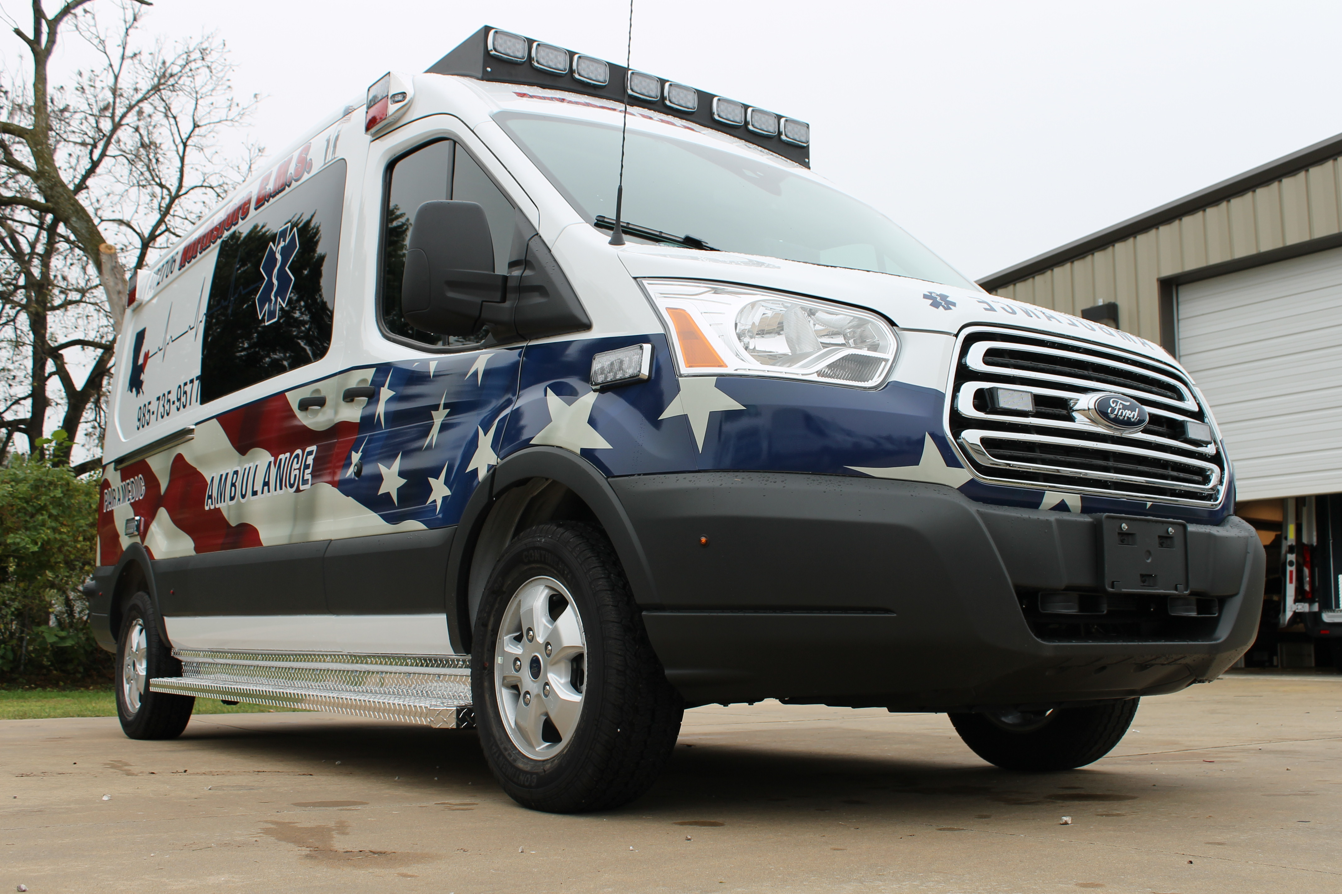 Ford Transit Type II Ambulance with American Flag decals