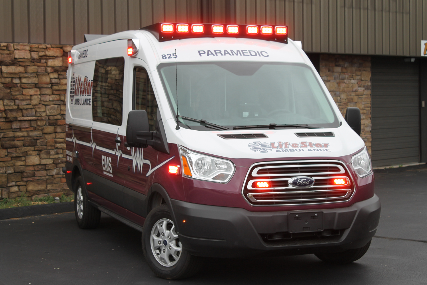 Illuminated lights on LifeStar Type II Ambulance