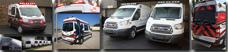 Front page banner featuring multiple car configurations for Type I, Type II, and Type III ambulances